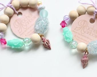 Shell Bracelet, Kids Bracelet, Mermaids, Mermaid Party, Mermaid Birthday, Beaded Bracelet, Gift For Kids