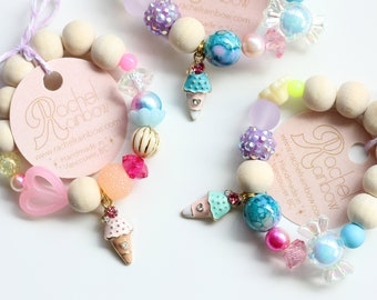 Kids Bracelet, Ice Cream Cone, Beaded Bracelet, Gift For Kids, Summer Party, Ice Cream Birthday