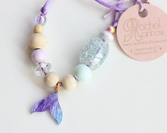 Mermaid Necklace, Mermaids, Mermaid Tail, Mermaid Party, Mermaid Birthday, Beaded Necklace, Gift For Kids, Charm Necklace