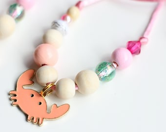 Crab Necklace, Crab, Beach Jewelry, Mermaid Party, Mermaid Birthday, Beaded Necklace, Gift For Kids, Charm Necklace
