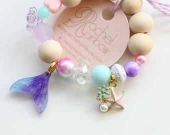 Kids Bracelet, Seashell, Mermaids, Mermaid Party, Mermaid Birthday, Beaded Bracelet, Gift For Kids