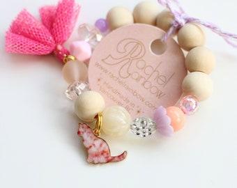 Cat Bracelet, Animal Bracelet, Kitty Cat, Kids Bracelet, Cat Lady, Kids Bracelet, Beaded Bracelet, Gift For Kids