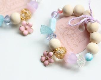 Flower Bracelet, Kids Bracelet, Nature Inspired, Charm Bracelet, Beaded Bracelet, Gift For Kids, Toddler Bracelet