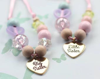Big Sister Necklace, Big Sister To Be, Beaded Necklace, Gift For Kids, Sister Gift, New Big Sister Gift