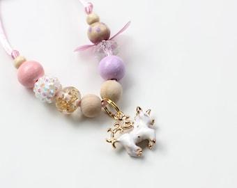 Charm Necklace, Unicorn Charm, Unicorn Party, Unicorn Birthday, Beaded Necklace, Gift For Kids, Unicorn Necklace