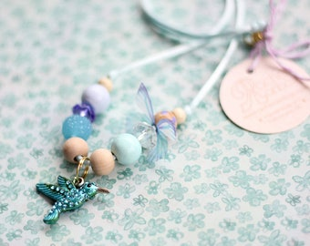 Hummingbird Necklace, Humming Bird, Beaded Necklace, Gift For Kids, Charm Necklace