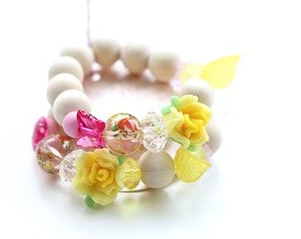Kids Bracelet, Flower Fairy Gift, Beaded Bracelet, Gift For Kids, Fairy, Flower Bracelet