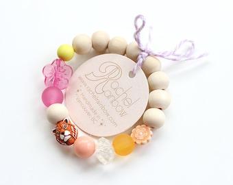 Kids Bracelet, Tiger, Jungle Animal, Beaded Bracelet, Gift For Kids