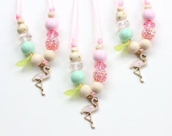 Flamingo Necklace, Flamingo, Beaded Necklace, Gift For Kids, Charm Necklace