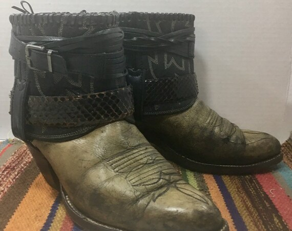 Larry Mahan Handmade Cowgirl Booties with Belts size 8 1/2 to 9