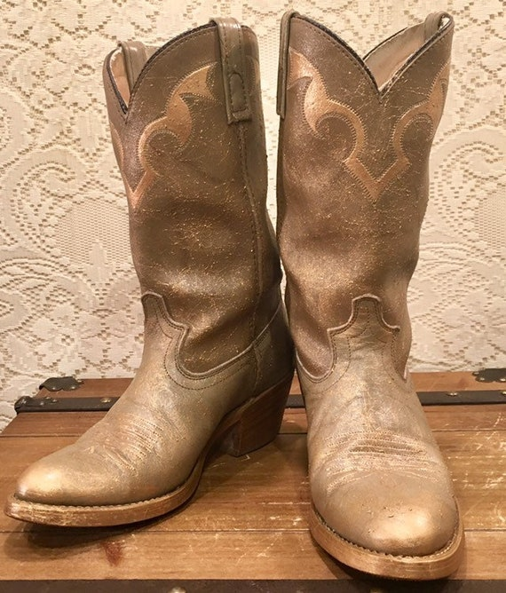 Hand Painted Gold Splattered Acme Cowgirl Boots size 9 1/2