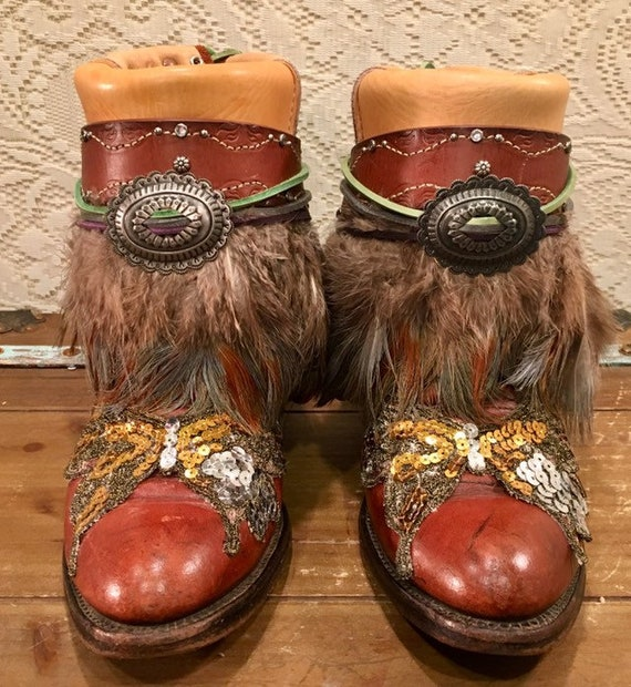 Handcrafted Stetson Whiskey Cowgirl Boots with Feathers and Butterfly Sequins size 8 1/2M