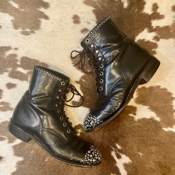 Black Leather Lace Up Granny Packer Western Boots with Rhinestone Toes by Justin Boots women size 6 1/2 M.
