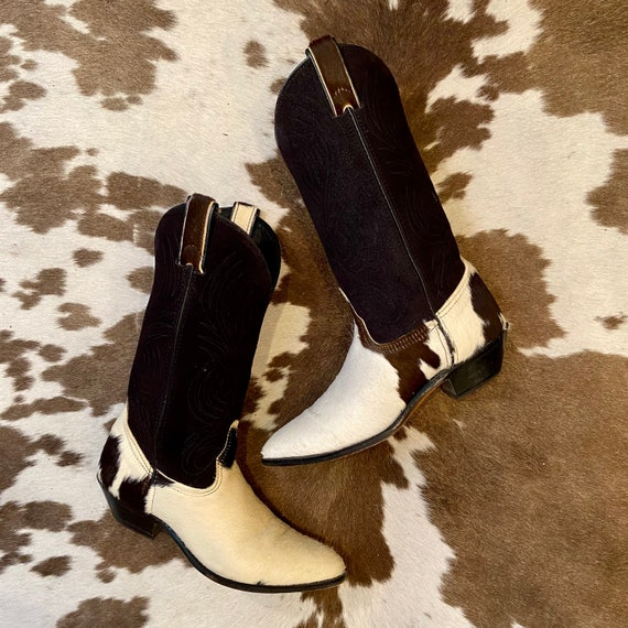 Black White and Brown Calf hair and Suede Cowboy or Cowgirl Boots from Code West women's size 6 M