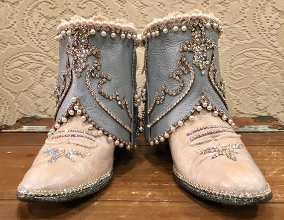 Custom Baby Blue and Ivory Cowgirl Bling Boots size 7 1/2M
