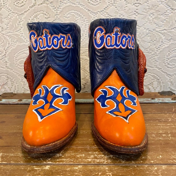 Handcrafted University of Florida Gator Fan ankle booties with Gator Heads Miss Capezio size 8 1/2 M