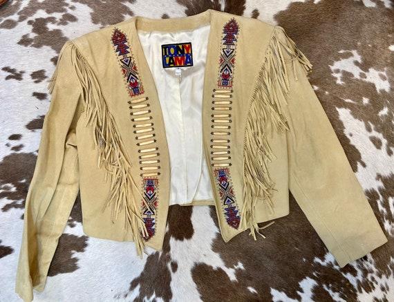 Gorgeous Beige Suede Tony Lama Fringe Jacket with Southwestern Beading women's size 10