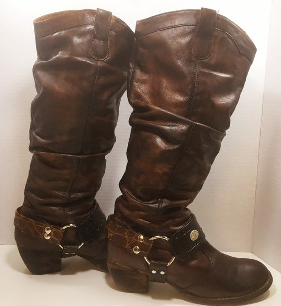Hand Painted Leather Slouch Harness Boots size 8 1/2