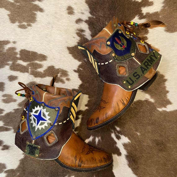 Handcrafted Vintage Tony Lama Cowgirl Ankle Booties with Military Patches and Lacing women's size 7 1/2 M
