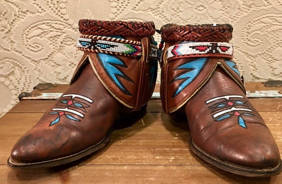 Handmade Vintage Acme Cowgirl Booties with Southwestern seed belt women's size 9 to 9 1/2
