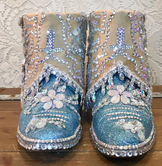 Custom Bedazzled Bridal Bling Cowgirl Boots Panhandle Slim size 8 1/2