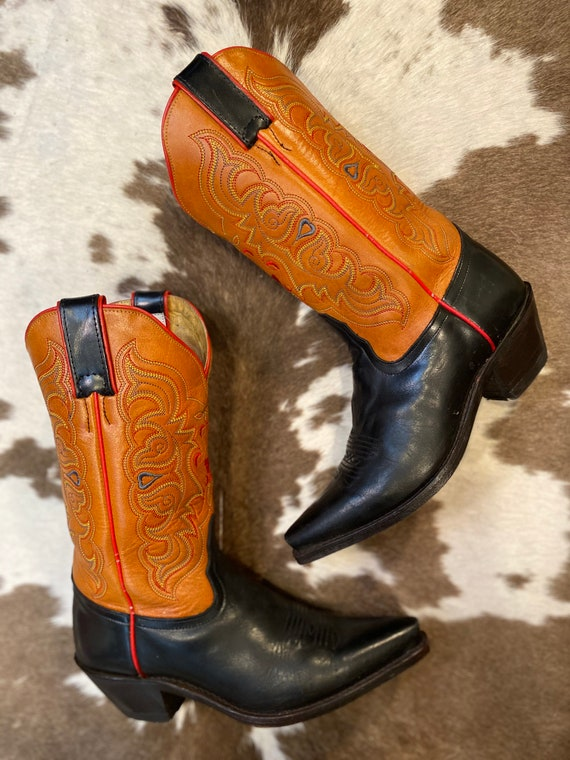 Tony Lama Black and Tan Leather Embroidered Cowgirl Boots size 6 1/2 B