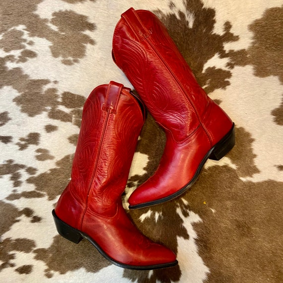 Vintage Cherry Red Leather Code West Western Cowgirl Boots women's size 8 1/2 M