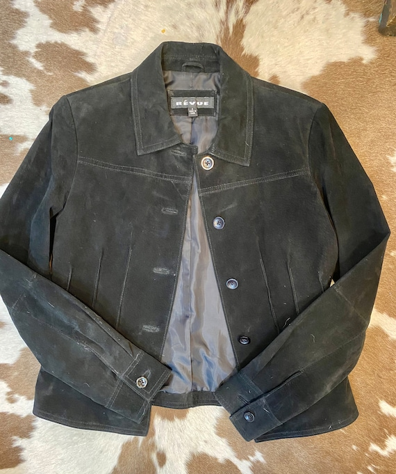 Black Suede Fitted Jacket/Coat size S or 4