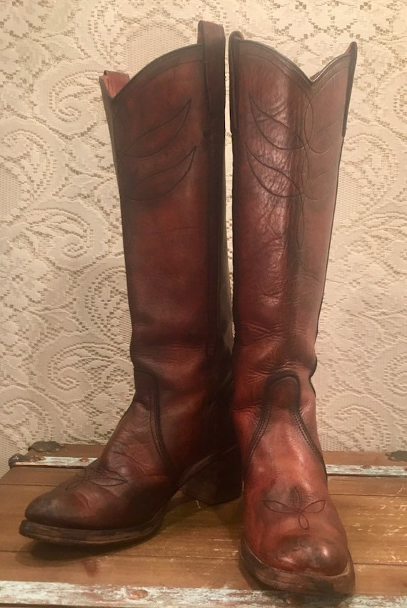 Tall Antiqued Whiskey Miss Capezio Cowgirl Campus Riding Boots size 9N