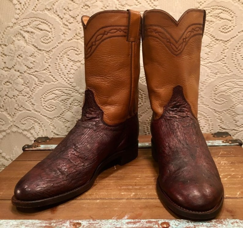 c575c2a1b64 Brown and Tan Justin Ostrich Cowboy Boots size 10D