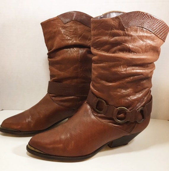 Brown Leather Slouch Boots with Harness  size 8 1/2