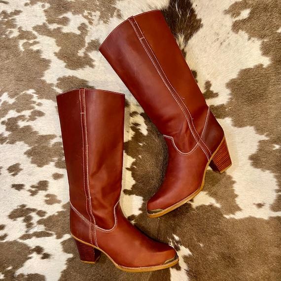 Tall Cognac Leather Vintage Zodiac Boots women's size 10 M