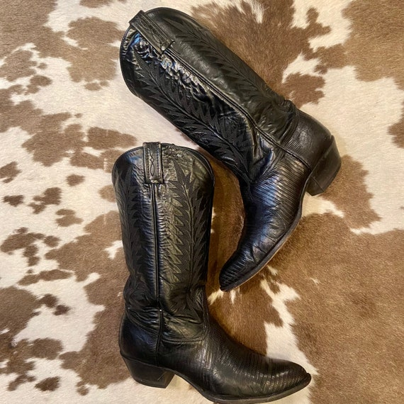 Black Leather Vintage Tony Lama Lizard Embossed Cowgirl Boots women's size 8 M