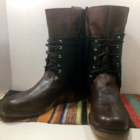 Brown and Black Leather Boots with cowboy boots spats or Gaitors mens size 10 or women's size 11