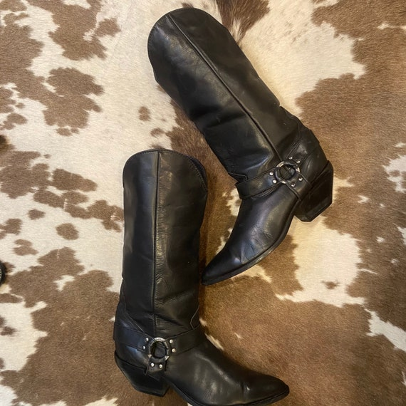 Vintage Black Leather Cowgirl Harness Boots from Zodiac size 10 M