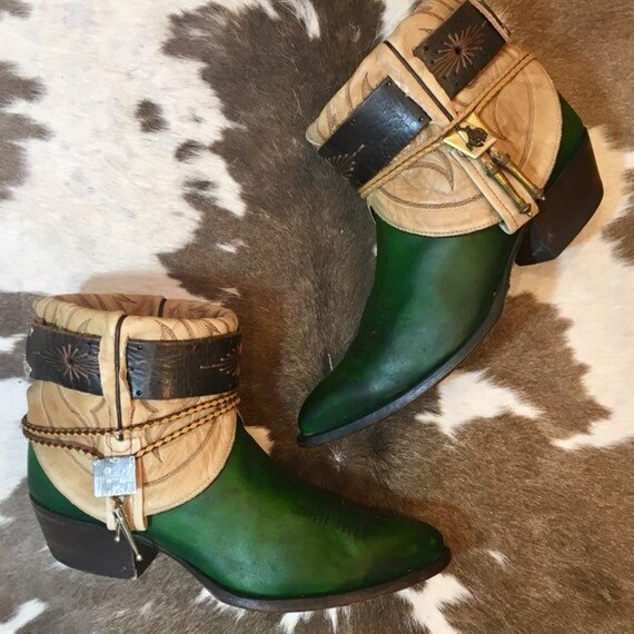 Handcrafted Emerald Green Tony Lama Cowboy Booties men's size 8 E or women's size 10 wide