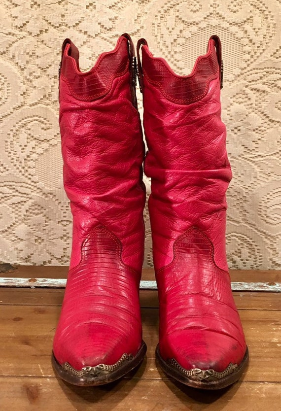 Red Hot Zodiac Cowgirl Slouch Boots With Wingtips and Heel Caps size 8 M