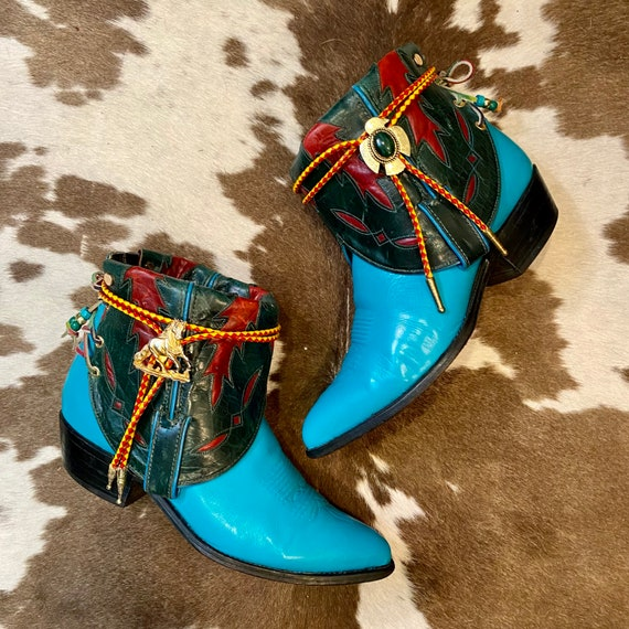Handcrafted Turquoise and Emerald Green Western Tony Lama Cowgirl Western Ankle Booties with Inlays and Bolo Ties size 10 1/2