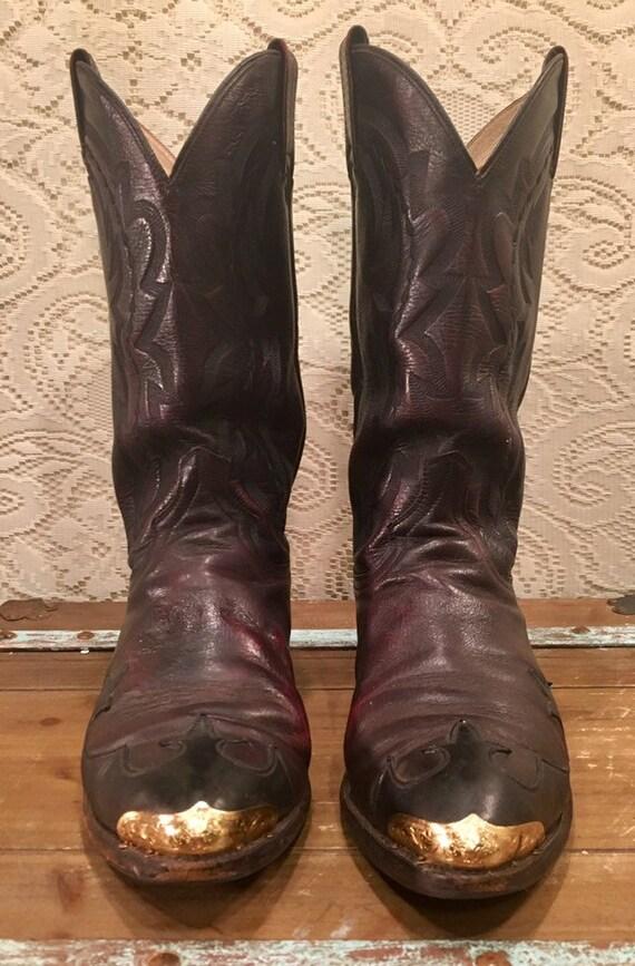 Black Cherry Dan Post Cowboy Boots with Wingtips men's size 10 1/2D