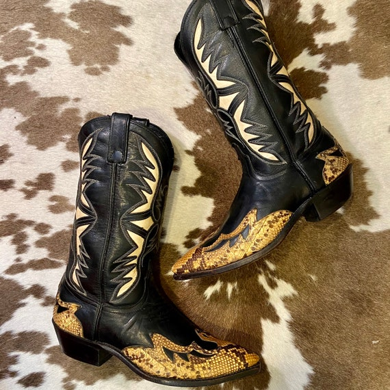 Vintage Black, White and Snakeskin Code West Cowgirl Boots size 8 1/2 M