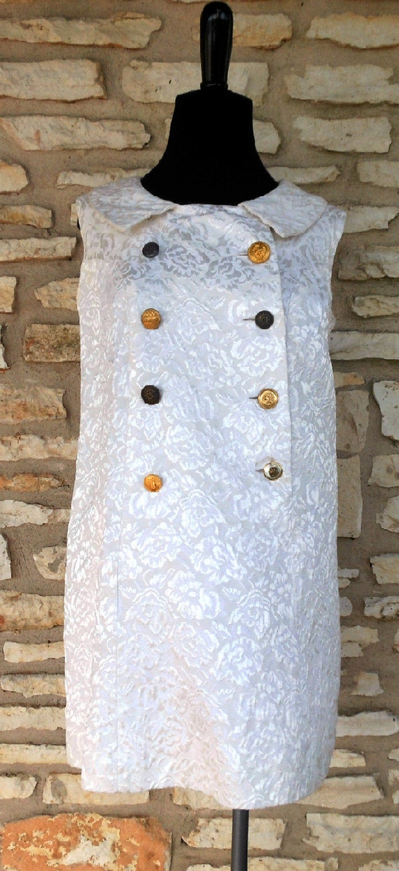 Vintage 1950s 1960s Mod Military White Lace Dress with Military buttons and Patches