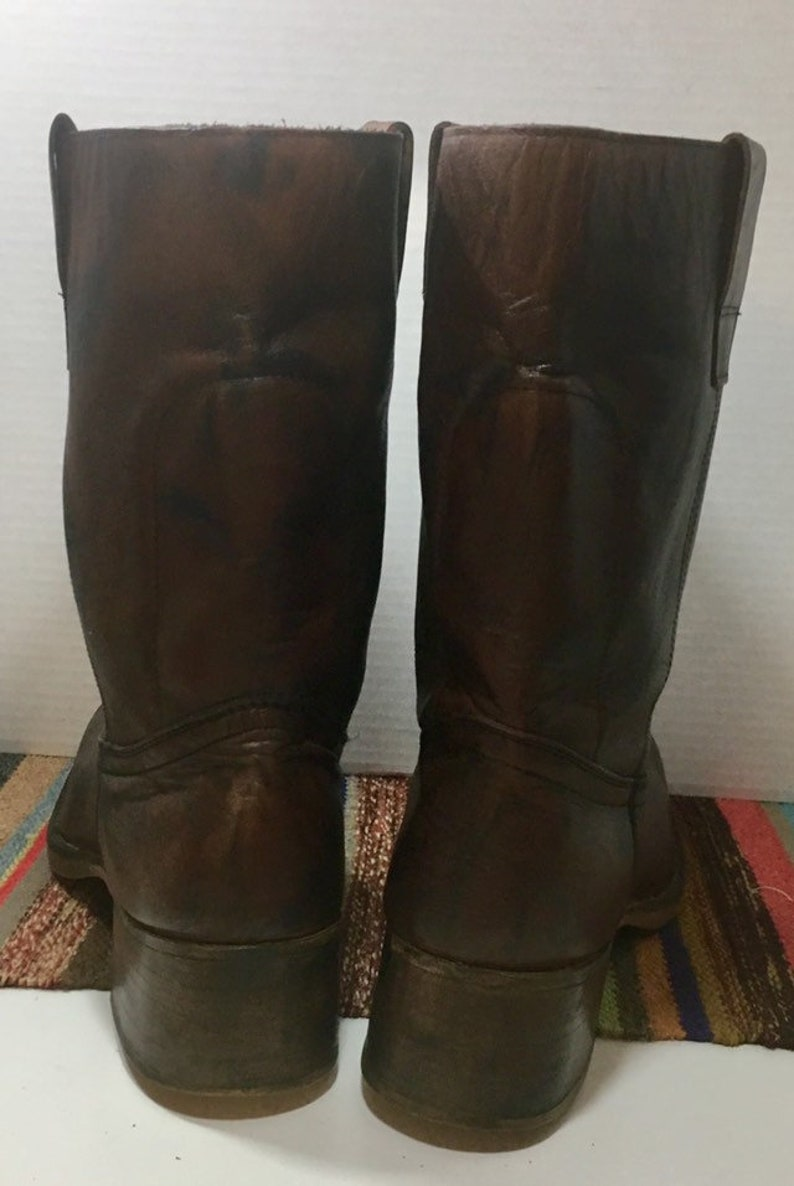 Brown and Black Leather Boots with cowboy boots spats or Gaitors mens size 10 or women/'s size 11