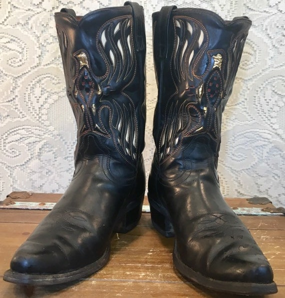 1960s Rare Black Acme Cowboy Boots with Phoenix Thunderbird Eagle mes size 9 1/2D woman's size 11