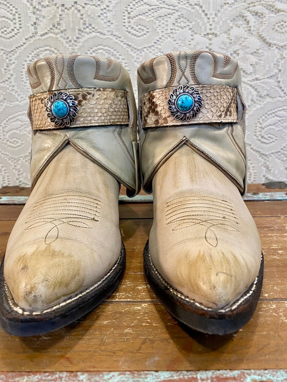 Hand Crafted Ivory Leather Nocona Western Cowgirl Ankle Booties with Snakeskin and Turquoise Belts women's size 9 1/2 C