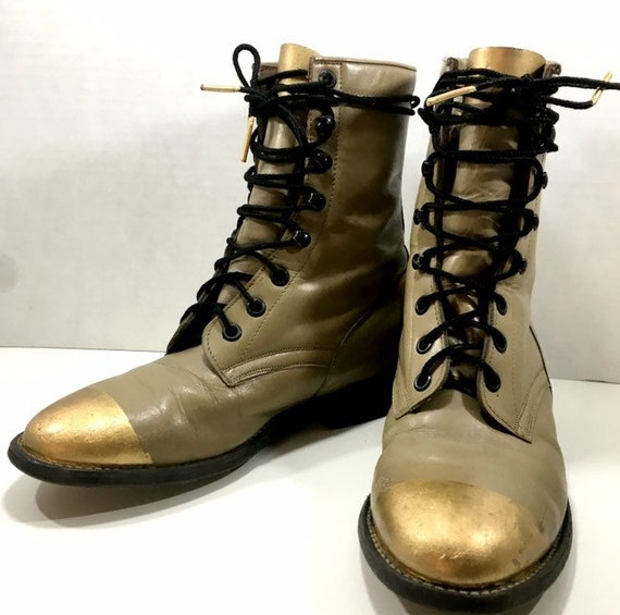Beige and Gold Leaf Lace Up Granny Roper Boots woman's size 6M