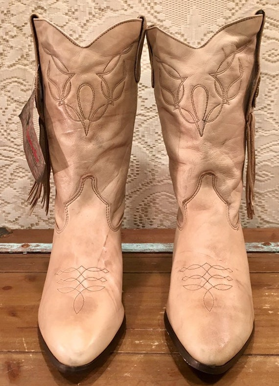 NOS Beige Laredo Leather Fringe Cowgirl Boots size 8 1/2M