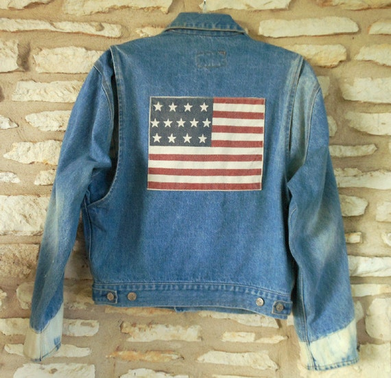Rare Collectors Ralph Lauren American Flag Studded Jean Jacket size Small