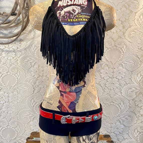 Retro Black Fringe Western Bikini with Hipster Bottoms size Medium