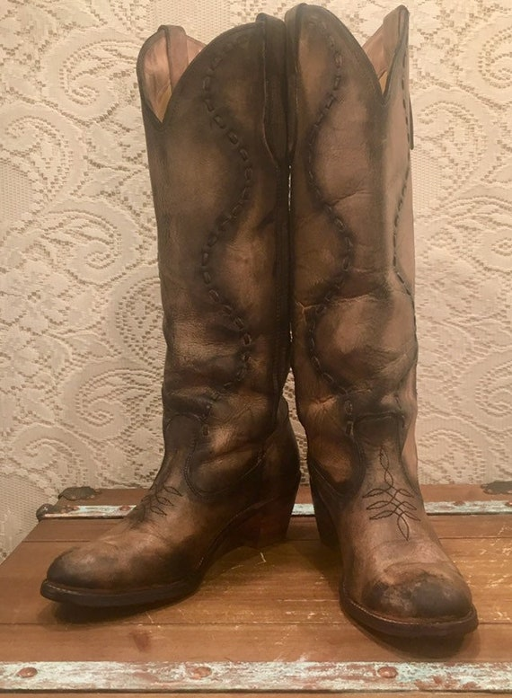 Tall Antiqued Acme Cowgirl Boots with stitching size 9M