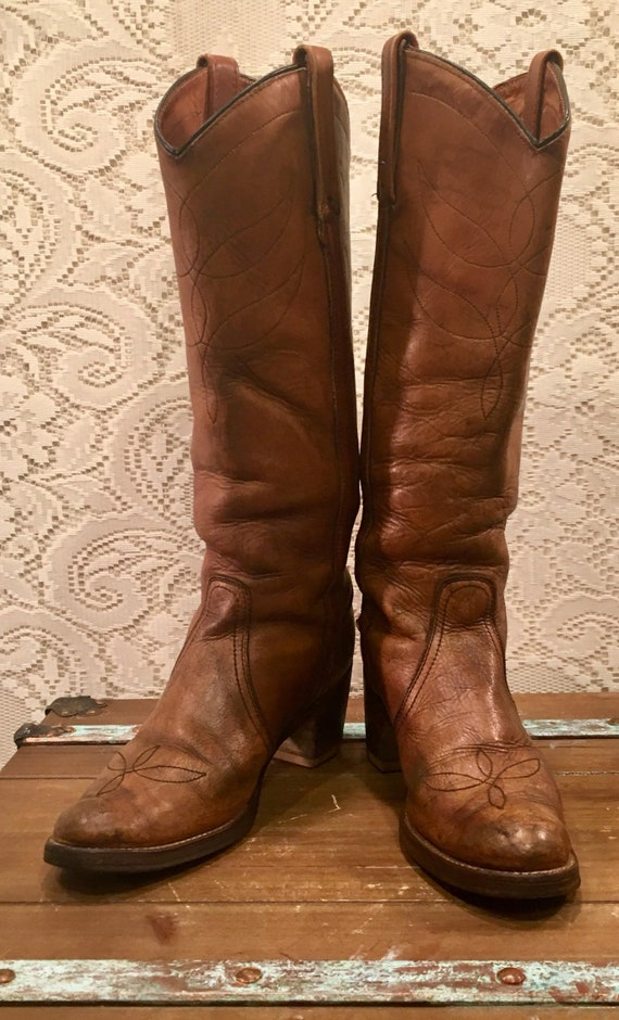 Tall Tan Leather Miss Capezio Cowgirl Riding Campus Boots size 9 N